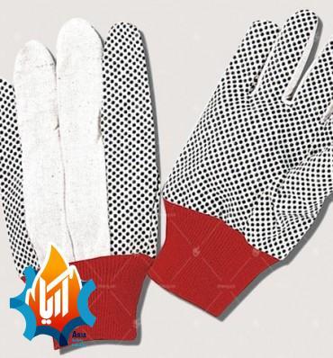 دستکش نخی خالدار مچ قرمز